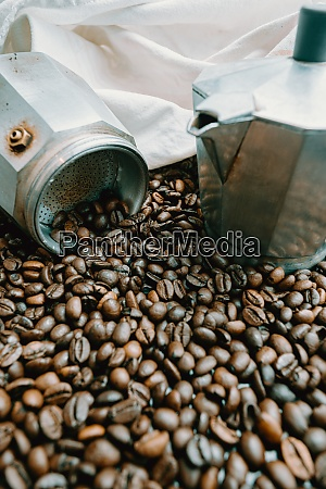 a open coffee pot surrounded by
