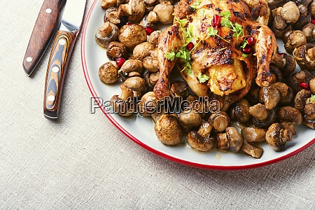 fried chick with mushrooms