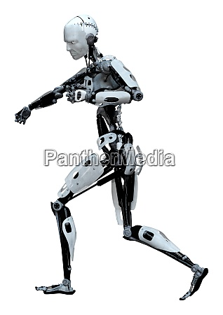 3d rendering male robot on white