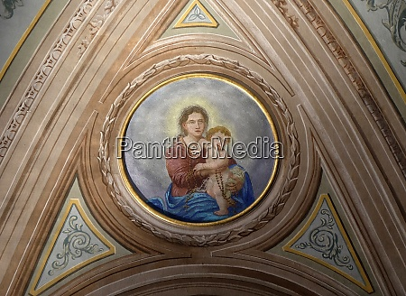 virgin mary with baby jesus ceiling