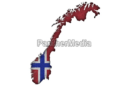 map and flag of norway on