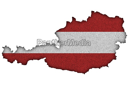map and flag of austria on