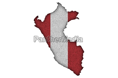 map and flag of peru on
