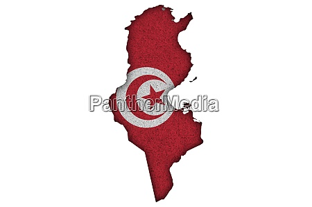 map and flag of tunisia on