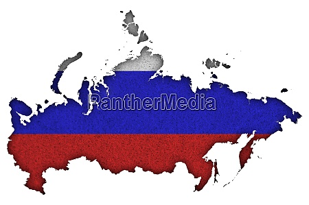 map and flag of russia on