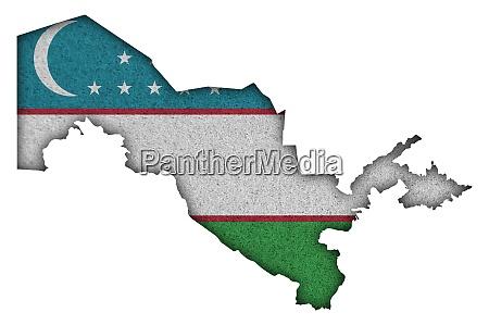 map and flag of uzbekistan on