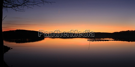 after sunset lake moehnesee delecke north