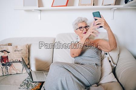 woman having video call on phone