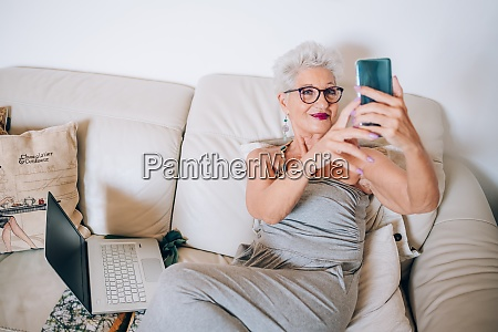 woman having video call on her
