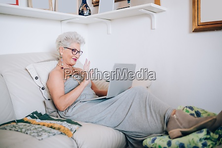 woman on video call at home