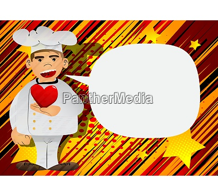 chef holding red heart in his