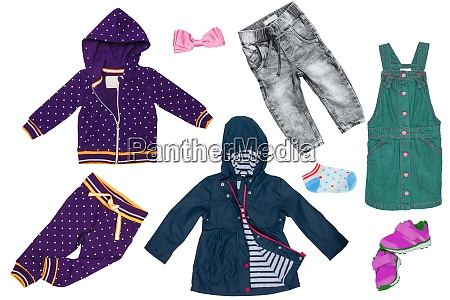 collage set of little girl clothes
