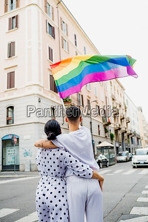 rear view of young lesbian couple