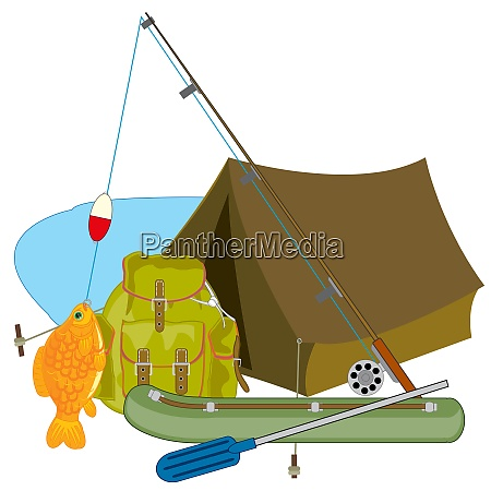 subjects for fishing fishing rod and