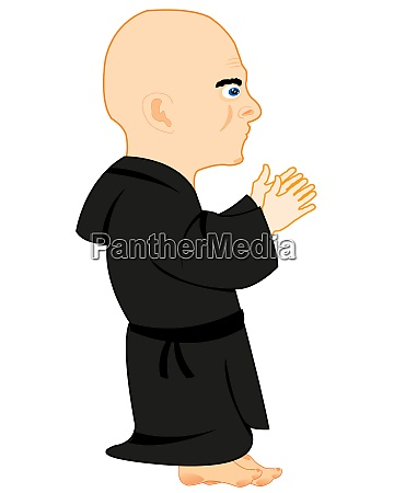 monk on prayer on white background
