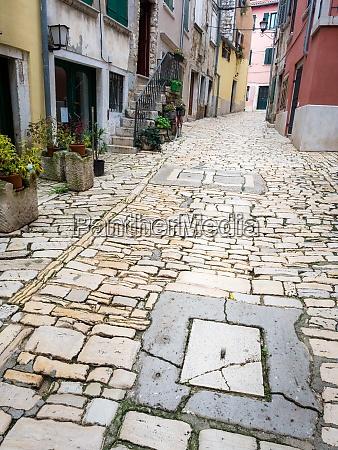 cobblestone streets of rovinj cxroatia