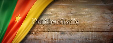 cameroon flag on vintage wood wall