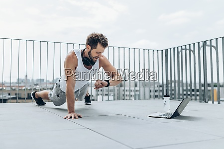 outdoor workout on a rooftop terrace