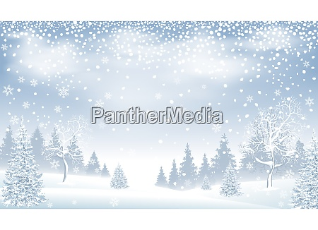 winter landscape forest snow snowflakes