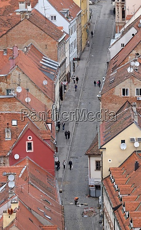 aerial view of the rooftops of
