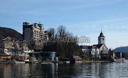 st wolfgang village waterfront at wolfgangsee