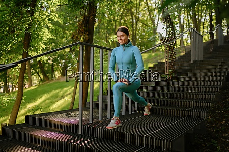 morning workout on stairs in park