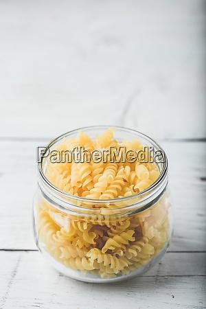 jar of fusilli pasta