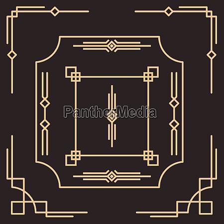 art deco border frame arabic vector