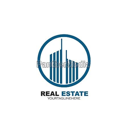 real estate modern city building vector