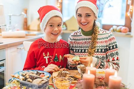 family having fun baking cookies for