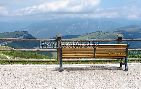 park bench without people with a
