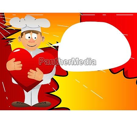 chef in uniform hugging big red