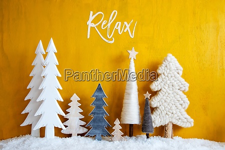 christmas trees snow yellow wooden background