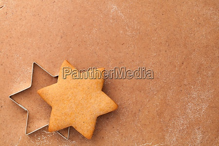 homemade gingerbread cookie star and cookie