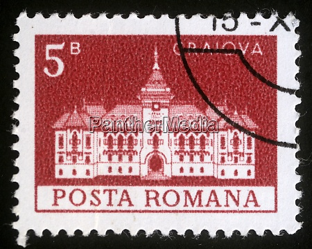 stamp printed in romania shows city