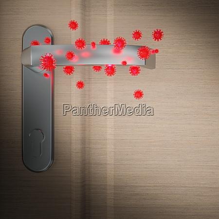 covid 19 virus on a door