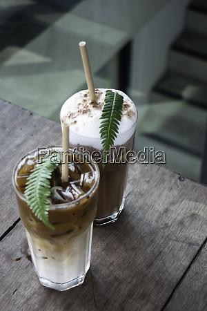 coffee glass decorated with fern leaf