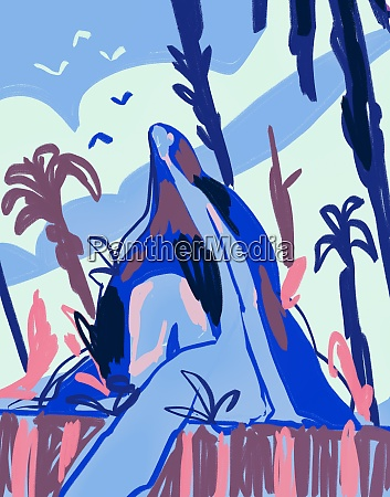 woman in abstract nature expressionism painting