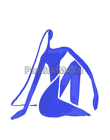 minimalist woman sitting paint on blue