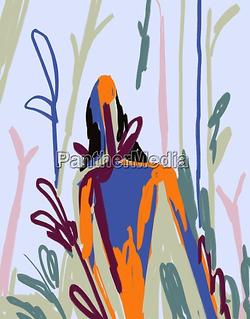 abstract person in nature fauvism and