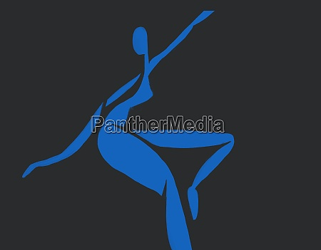 blue woman dancing silhouette collage on