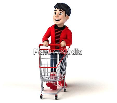 fun 3d cartoon teenage boy shopping