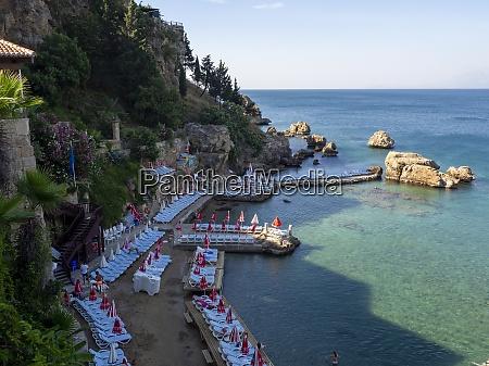 mermerli beach at steep coast of