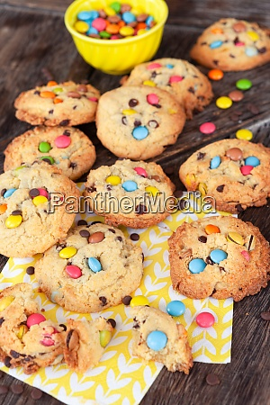 delicious cookies with chocolate lentils