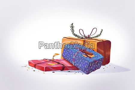 tree gift on white scene clipart