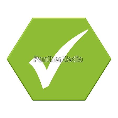 green hexagon button showing tick confirm