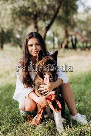 american akita dog for a walk