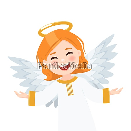 foreground flying angel on white background