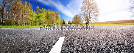 road panorama background on sunny spring