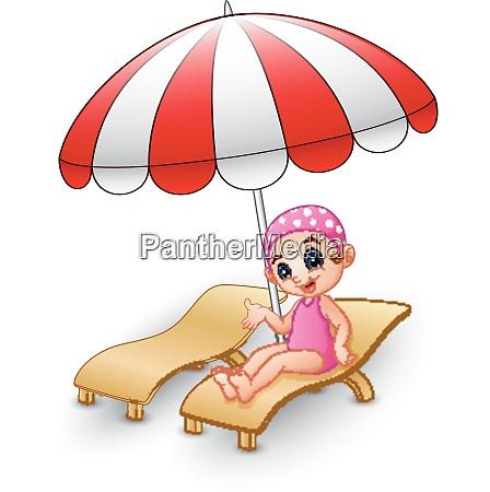 cartoon girl relaxing on beach chair